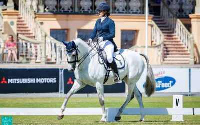 Rachel Lee riding Urodel Du Texier score superbly at 2-star Dressage Day